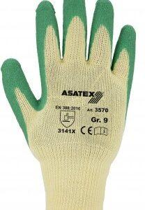 Strick mit Latex-Beschichtung – Farbe: gelb/grün