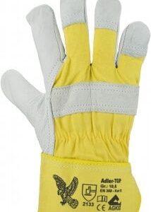Rindnarbenleder-Handschuh, Farbe: naturfarben/gelb